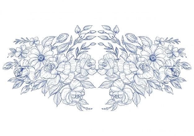 Main dessiner illustration florale botanique