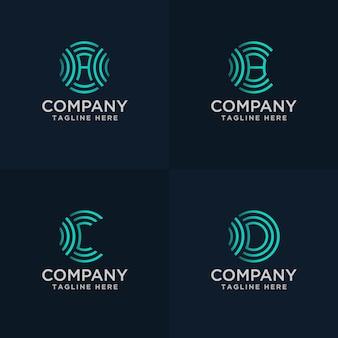 Main dessiner la lettre abc et d avec le concept de logo de signal