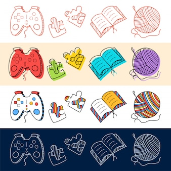 Main dessiner manette de jeu, livre, tricot, icône du puzzle dans le style doodle pour votre conception.