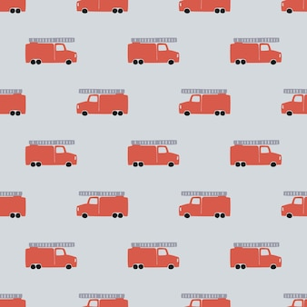 Main dessiner un modèle sans couture de camion de pompiers. fond de garçon de vecteur dans un style scandinave. feu rouge voitures mignonnes isolées sur fond gris. impression pour t-shirt pour enfants, textile, emballage, couverture