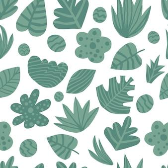 Main dessiner le modèle sans couture de feuilles vertes de la jungle. plante exotique. conception estivale pour tissu, impression textile, papier d'emballage, textile pour enfants