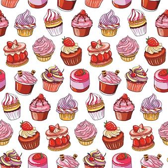 Main dessiner le modèle sans couture de gâteau aux fraises