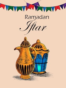 Main dessiner parti iftar ou fond de ramadan mubarak avec lanterne arabe