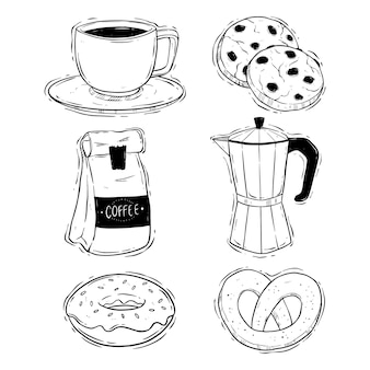 Main dessiner pause café avec illustration de biscuits