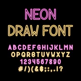 Main dessiner police alphabet tube néon. couleur type lettres et chiffres.
