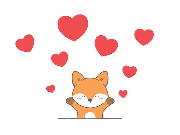 Main dessiner renard avec coeur