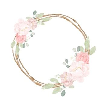 Main dessiner des roses roses aquarelles et un bouquet de pivoine avec une couronne de cadre de brindille sèche