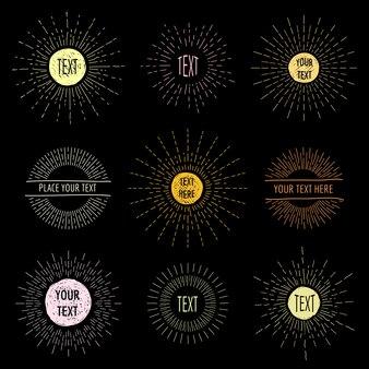 Main dessiner des sunbursts doodle avec place pour le texte. dessin de cercle radial, ensemble de logo hipster sunshine.