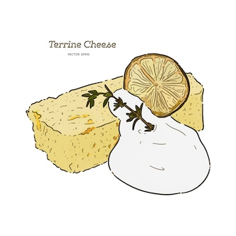 Main dessiner terrine gâteau au fromage