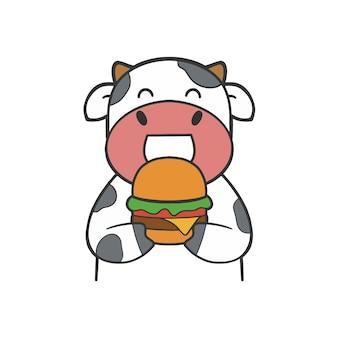 Main dessiner vache mignonne manger un hamburger