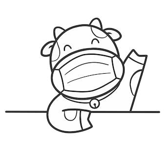 Main dessiner une vache mignonne avec un masque à colorier