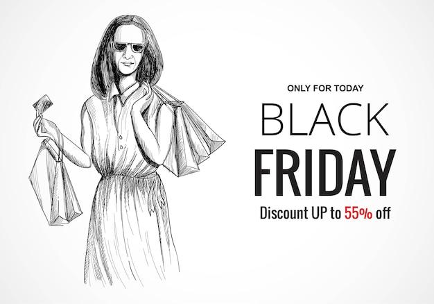 Main dessiner vendredi noir shopping vente croquis
