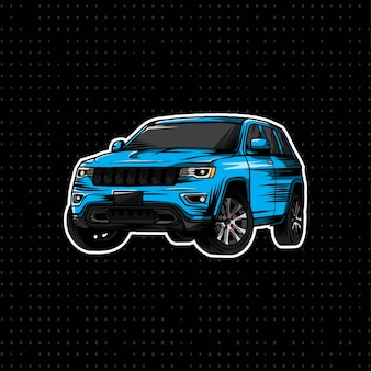 Main dessiner voiture jeep moderne