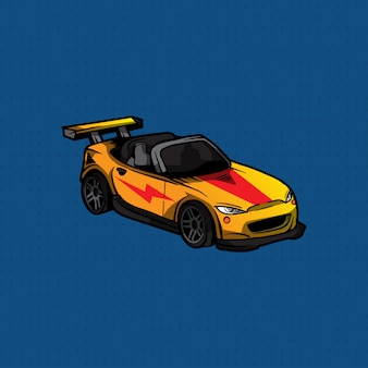 Main dessiner une voiture de sport jaune et rouge