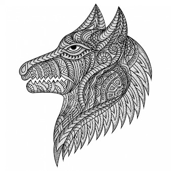Main, dessiner, zentangle, chien, illustration