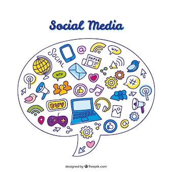 Main discours dessiné fond avec des éléments de médias sociaux