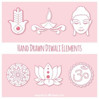 Main diwali éléments dessinée