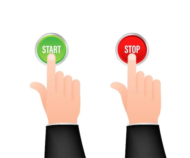 La main avec le doigt appuie sur le bouton vert et rouge d'arrêt de démarrage. cliquez sur signe. clic de la main. illustration vectorielle