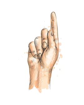 Main avec un doigt vers le haut d'une éclaboussure d'aquarelle, croquis dessiné à la main. illustration de peintures