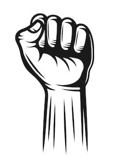 La main avec les doigts pliés en un poing pointant vers le haut