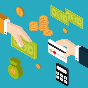Main donnant de l'argent à l'autre main