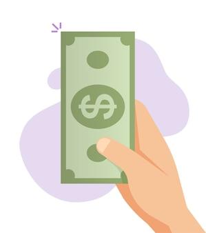 Main donnant de l'argent comptant un billet de banque papier illustration de dessin animé plat