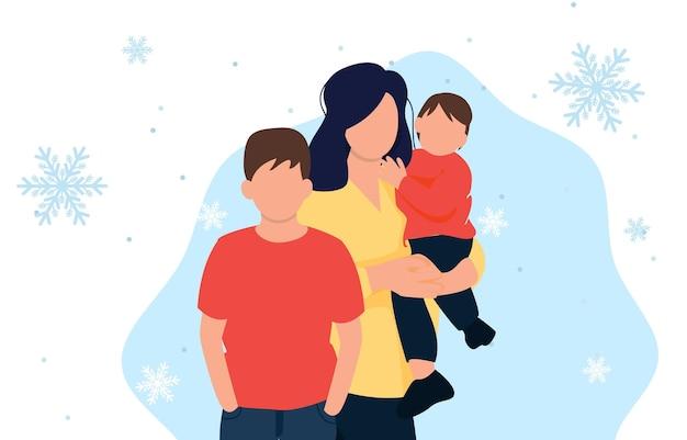 Main donnant un cadeau à la mère avec l'enfant. joyeuse surprise familiale de vacances de noël. journée de magasinage des personnages. main tenant la boîte-cadeau. famille avec cadeau de noël. illustration vectorielle.