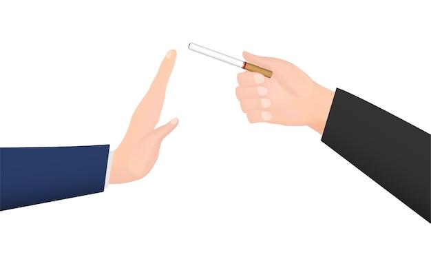 Main donne cigarette pour refuser la main de fumée
