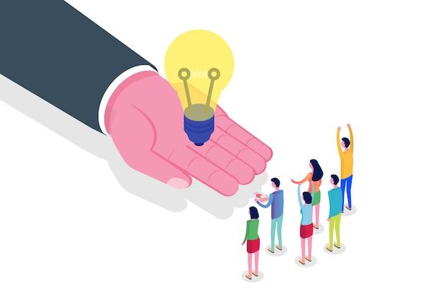 La main donne une idée. succès, concept isométrique de travail d'équipe. illustration.