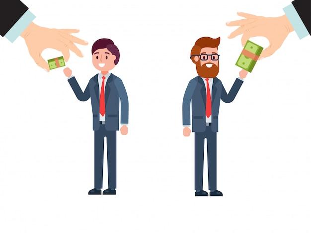 La main du patron donne un salaire différent à un personnage masculin qui reçoit de l'argent différent isolé sur blanc, illustration. employé senior et junior.