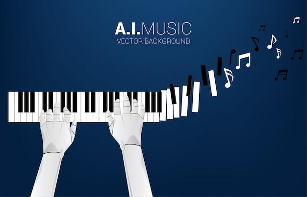 La main du robot pianiste avec la touche du piano se transforme en note de musique. concept de fond pour l'intelligence artificielle et la musique.
