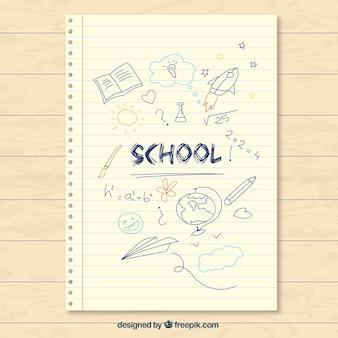 Main école dessinée note papier