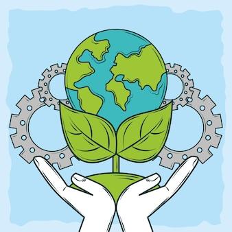 Main avec l'écologie de la planète