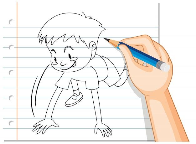 Main, écriture, de, garçon, démarrage, course, pose, contour