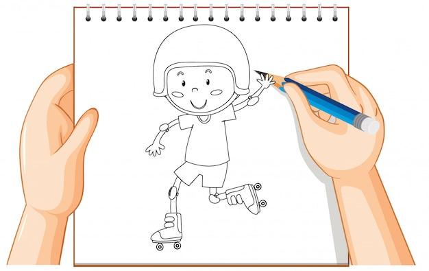 Main, écriture, de, garçon, jouer, patins roulants