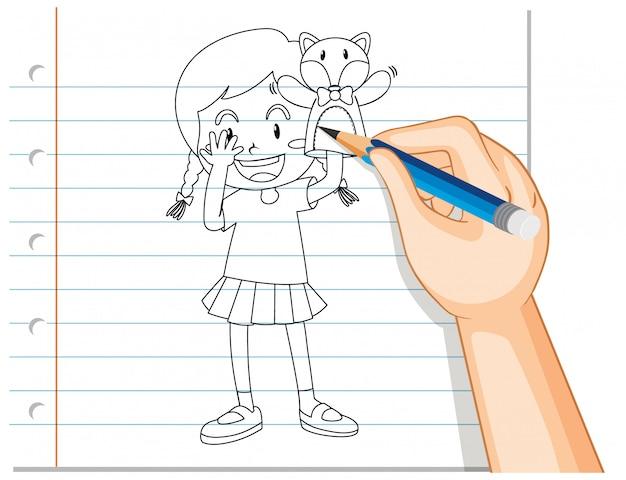 Main, écriture, de, girl, jouer, poupée, main, contour