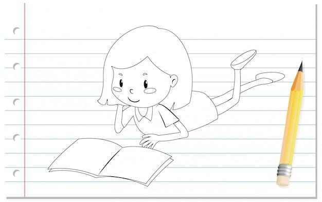 Main, écriture, de, girl, lecture livre, contour