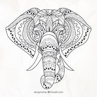 Main éléphant dessiné dans un style ethnique