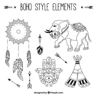 Main éléphant dessiné avec des éléments de boho