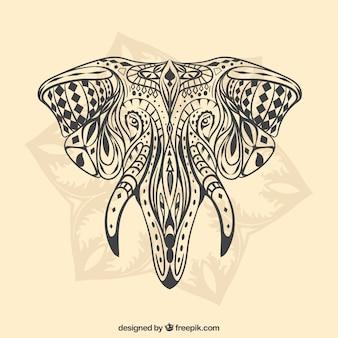 Main éléphant ethnique dessinée