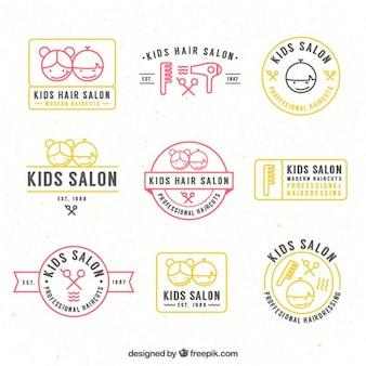 Main enfants dessinés salon de coiffure logos