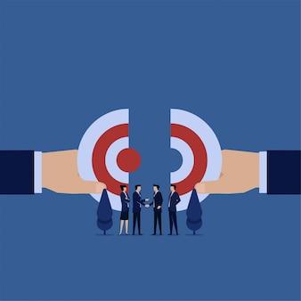 La main des entreprises unit les énigmes de la métaphore d'une vision.