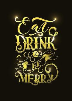 Main a esquissé mangez un verre et soyez joyeux lettrage typographie modèle happy thanksgiving day