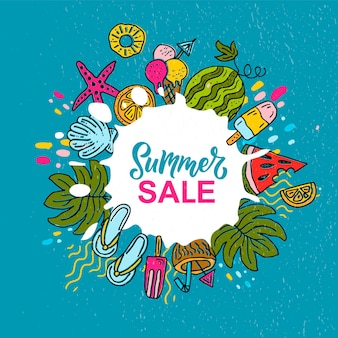 Main esquissée bannière de vente d'été crème glacée soleil plage mer pastèque cocktail concept logo