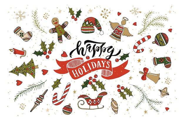 Main esquissée happy holidays logotype badgeicon typographie avec lettrage des attributs du nouvel an