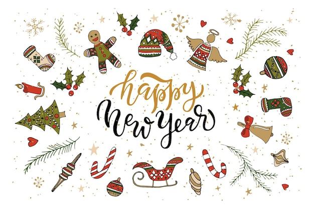 Main esquissée happy new year logotype badgeicon typographie avec lettrage des attributs de nouvel an