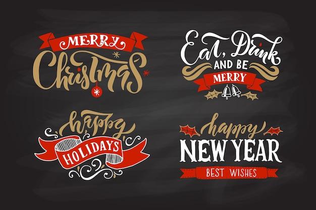 Main esquissée logotype badgeicon typographie pour noëlnouvel an saison des vacances lettrage