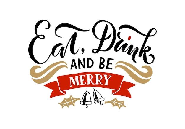 Main esquissée nouvel an logotype badgeicon typographie lettrage manger boire et être joyeux noël