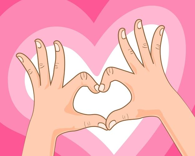 Main, faire, signe coeur