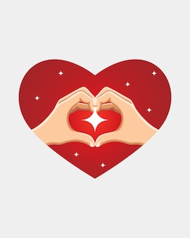 Main faisant signe de coeur avec éclat, saint valentin.